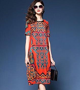 GAOLIM La Mujer Verano Niñas Vestidos Rojos Vestidos Vestido Femenino Impreso,S,