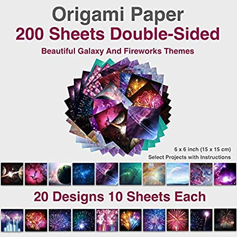 - 51V6xXhe8 L - Premium 6×6 inch Square Origami Paper 200 Sheets Double Sided of Beautiful Galaxy Outer Space and Fireworks Themes, Easy Folding Paper for Paper Arts Crafts, Kids & All Ages