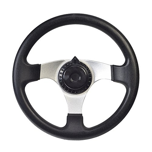 AlveyTech Go-Kart Steering Wheel with Cap for Kandi, Hammerhead, Roketa, Taotao Go-Karts & Dune Buggies (Steering Wheel Go Cart)
