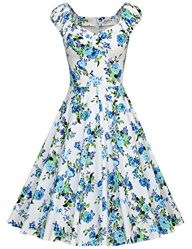 MUXXN Lady Flower Pattern Cut Out Neck Tea Length Casual Work Dress (Peony Blue M)