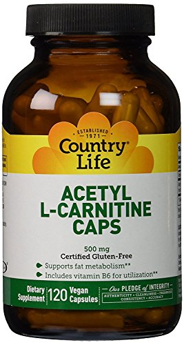 Country Life Acetyl L-Carnitine, 500 mg, with B-6 - 120 Vegan Capsules