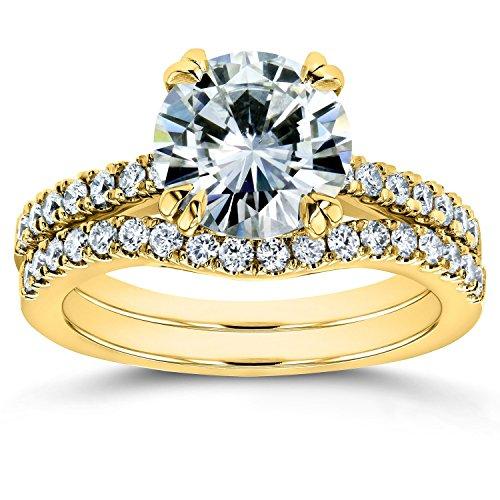 Moissanite and Lab Grown Diamond Bridal Rings Set 2 1/3 CTW 14k Yellow Gold (FG/VS, DEF/VS), ()
