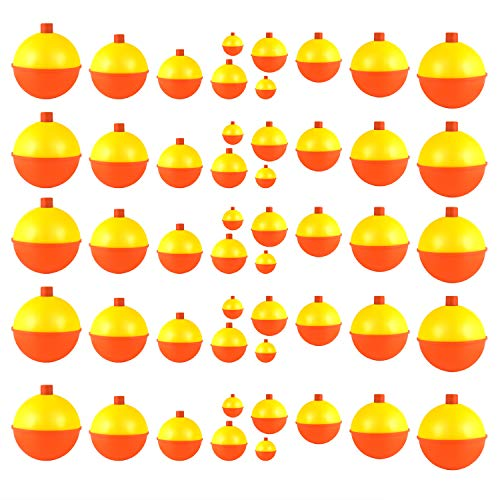 - Coopay 30pcs-50pcs Fishing Bobbers Floats Set Snap on Float Yellow/Orange Push Button Round Buoy Floats Fishing Tackle Accessories (0.5+1+1.25+1.5+2=50pcs)
