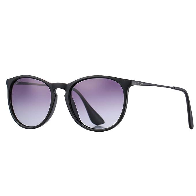 2f77a423ce Pro Acme Classic Round Polarized Sunglasses for Women Vintage Brand  Designer Style (Black Frame