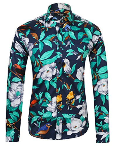 APTRO Men's Cotton Fashion Luxury Design Floral Shirt 1006 Blue M