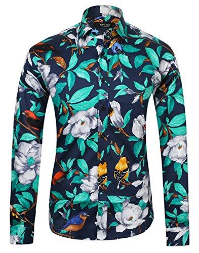 APTRO Men's Cotton Fashion Luxury Design Floral Shirt 1006 Blue 2XL