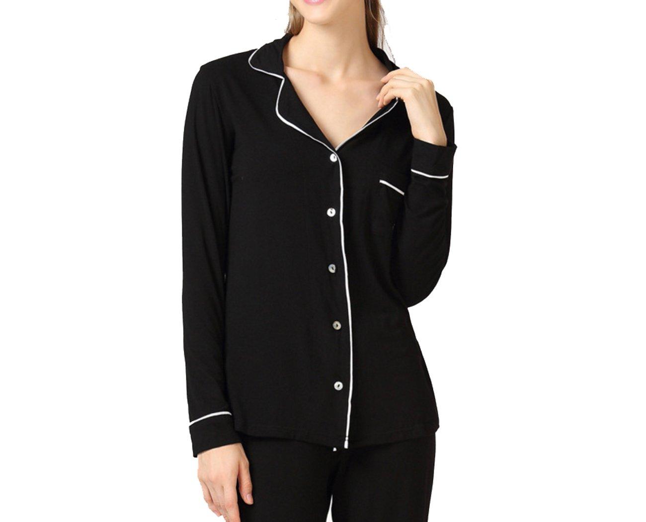 DANDANJIE Pijama Mujer Abotonado Mujer Pijama Pijama Sra. Autumn Pijamas Pijama casa Conjunto Modal Pijama Súper Suave de Gran tamaño Sra. Pijama de Dos Piezas Casual (Color : negro, tamaño : XXXL) 8146a1