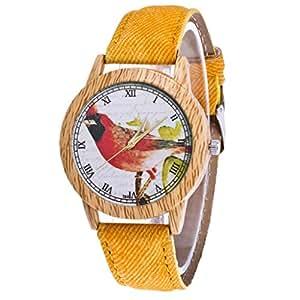 Women's Fashion Casual Leather Strap Analog Quartz Round Watch Quartz Watches (Yellow)