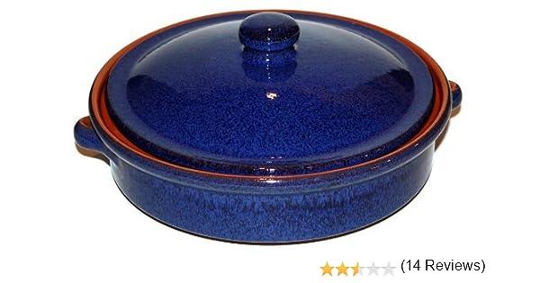 Amazing Cookware Fuente Redonda con Tapa de 25 cm, una Maravillosa Pieza de Cocina de Terracota - Azul Reactivo: Amazon.es: Hogar