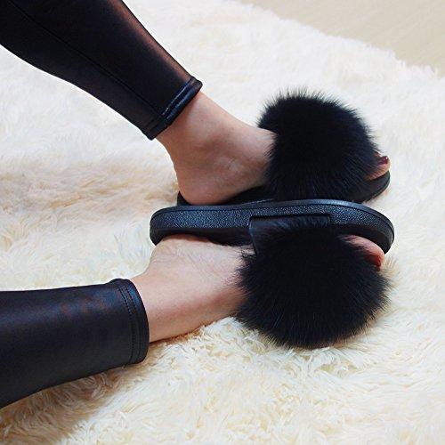 Feather Manka Open Strap Real On Black Sandals Vegan Vesa Toe Women Slip Fox Single Fur Leather PXRPaq