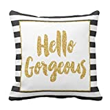 Hello Gorgeous Black & White Gold Glitter Stripes Throw pillow cover 1818 cover 1818