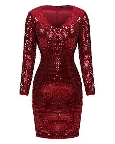 Mixfeer Womens V Neck Long Sleeve Sequin Bodycon Cocktail Party Club Evening Mini Dress