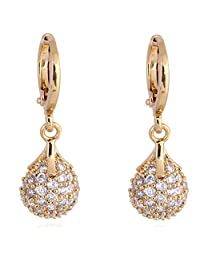 Women White Round Crystal Carving Earring Ear Studs Gold Plated Elegant Gift Boucles D'oreilles