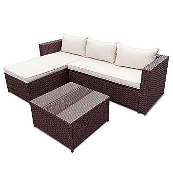 Rattan sofa garten  Amazon.de: POLY RATTAN Set Gartenmöbel Rattan-Lounge Gartenset ...