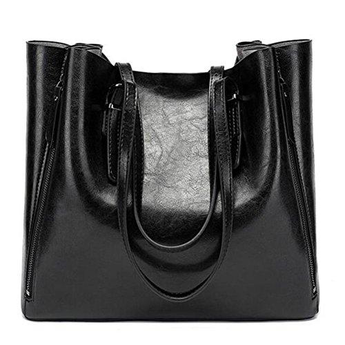High capacity Fashion handbag wax leather Imitation Woman's Oil Black Shoulder handbag PU New wpEtAq