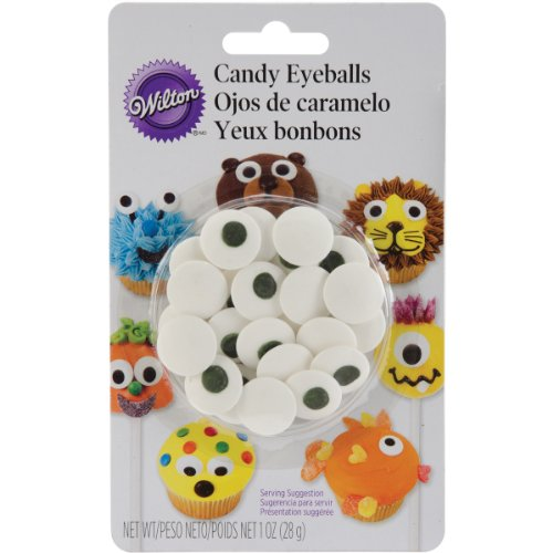 Wilton Candy Eyeballs, Great for Children's Birthday Cakes, and Cupcakes, Make that Dessert or Treat Look Back with Candy Eyes, Large, 1-Ounce ()