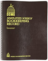 Bookkeeping Record Book Weekly 128 Pages 9 x11 Inches, Brown