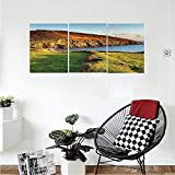 Liguo88 Custom canvas Seaside Decor Collection The south west coast path as it passes Hemmick Beach from Gorran Haven cliffs Bedroom Living Room Wall Hanging