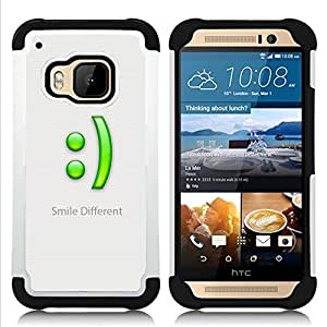 BullDog Case - FOR/HTC ONE M9 / - / Smile Different /- H??brido Heavy Duty caja del tel??fono protector din??mico - silicona suave
