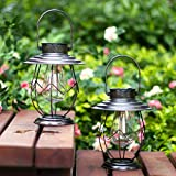 Polami 2 Pack Solar Lanterns Outdoor Hanging Solar