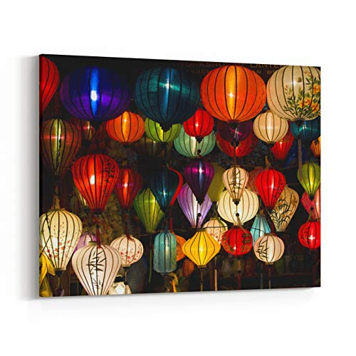 Rosenberry Rooms Canvas Wall Art Prints - Handcrafted Lanterns in Ancient Town Hoi an, Vietnam (10 x 8 inches)