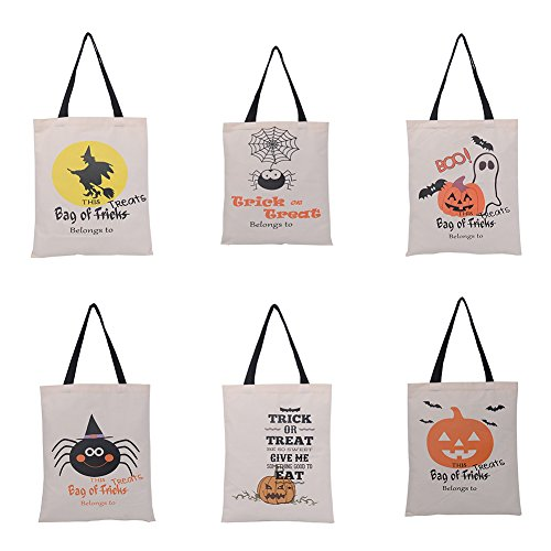 Aspire 6 PCS Halloween Reusable Tote Bags Durable