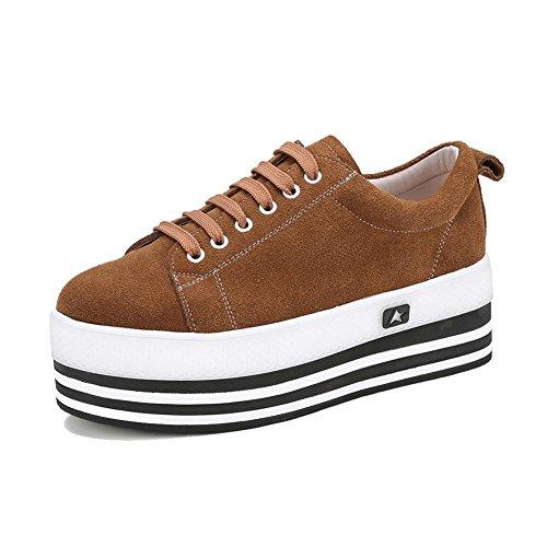 KJJDE Zapatos con Plataforma Mujeres WSXY-A2804 Serie Clásica Correa De Sujeción Yellow