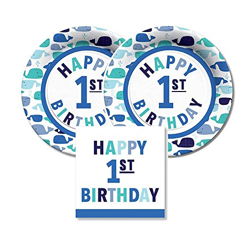 CR Gibson Happy 1st Birthday Paper Dessert Plates and Paper Napkins by Carters, Bundle- 3 Items (Blue Whales) (Birthday Paper Dessert Plates)