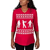 Old Glory Zombie Ugly Christmas Sweater Red Maternity 3/4 Sleeve T-Shirt - X-Large