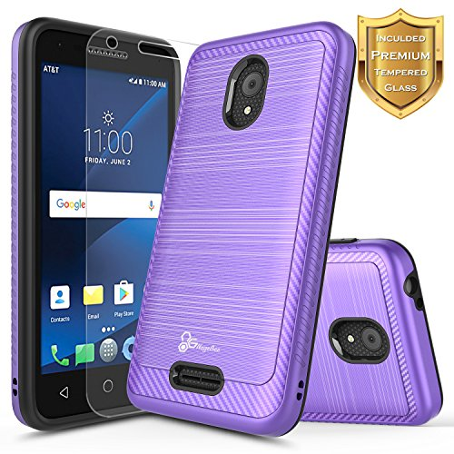 Alcatel IdealXCITE Case, Alcatel Raven LTE (A574BL), Alcatel CameoX/Alcatel Verso / U50 Case with [Tempered Glass Screen Protector], NageBee [Carbon Fiber Brushed] Dual Layer Hybrid Case -Purple
