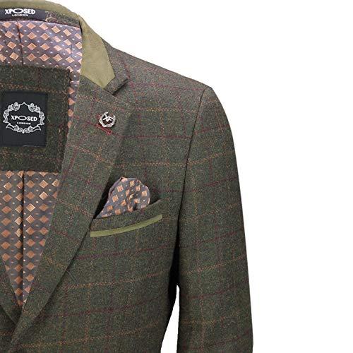 Vert Carreaux Motif Pièces Tweed Homme Pour Avec De Combinaison Olive À En 3 SnqxPP8v