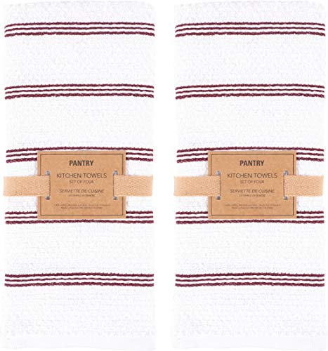 KAF Home Pantry Piedmont Kitchen Towels (Set of 8, 16x26 inches), 100% Cotton, Ultra Absorbent Terry Towels - Wine Red by KAF Home (Image #1)