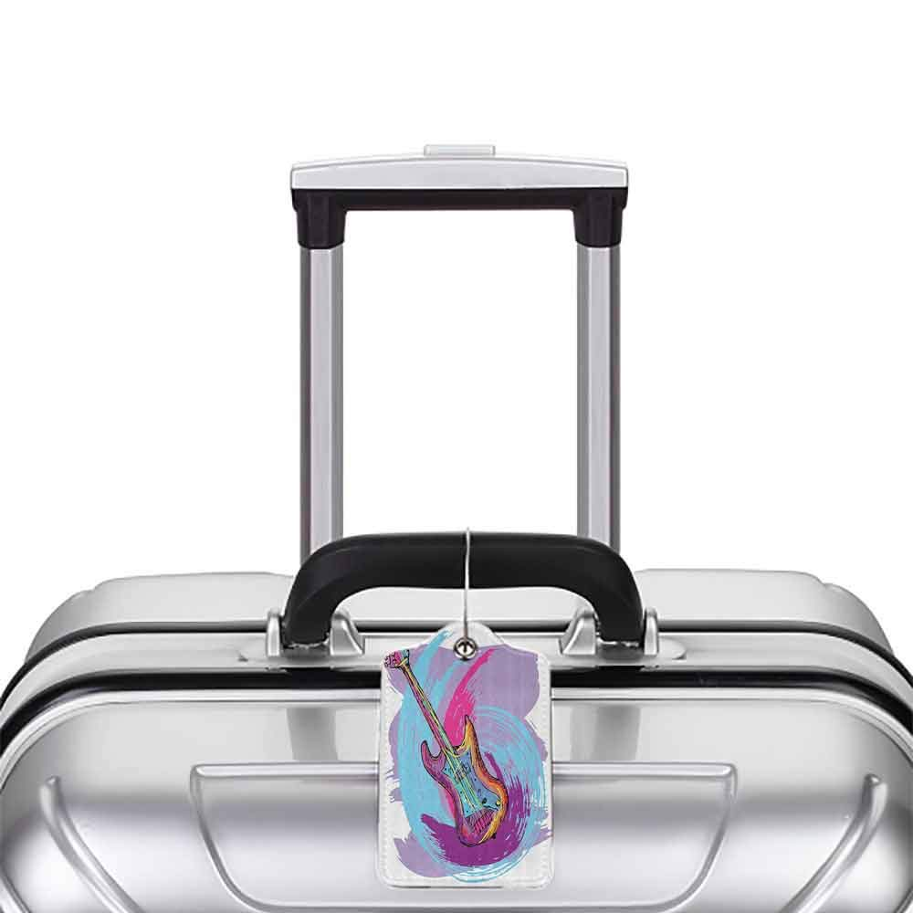 Small luggage tag Music Illustration of Electric Guitar Artistic Modern Musical Festive Quickly find the suitcase Lavander Purple Aqua Magenta W2.7 x L4.6