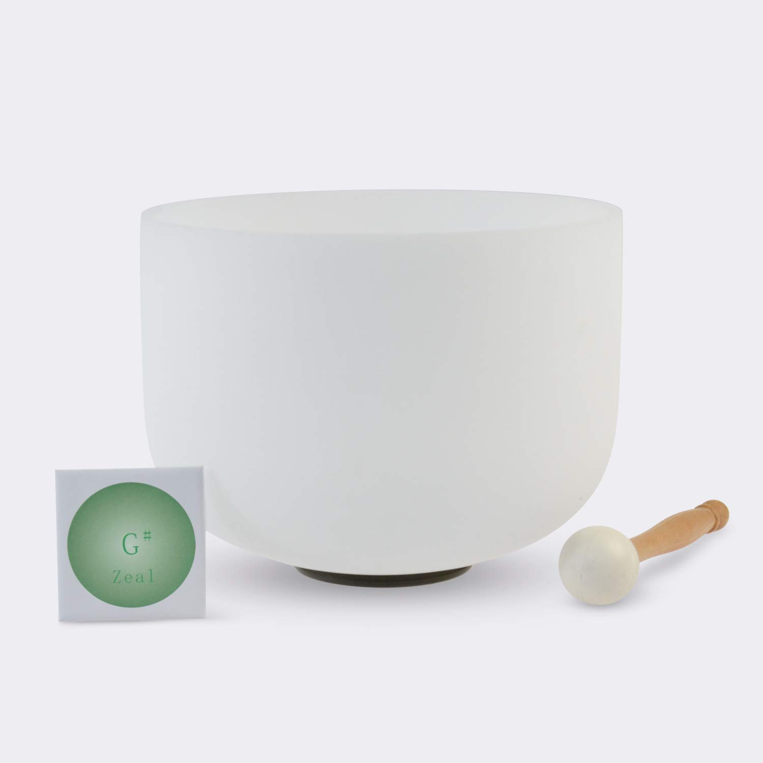 TOPFUND Singing Bowls G# Note Crystal Singing Bowl Zeal Chakra 10 inch (O ring and Rubber Mallet Included)