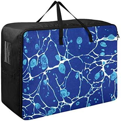 MORITA 布団収納ケース 寝具収納ケース 衣類収納ケース 布団収納袋収納袋 ナイロン 70x50x28cm 白い川と大理石模様をつける青によって斑点を付けられるヴィンテージ