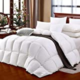 Biggest King Size Comforter SHEONE All Seasons Lightweight White Goose Down Comforter 650 Fill Power 100% Cotton Shell Down Proof-Solid White Hypo-allergenic Duvet Insert with Tabs (King)