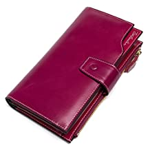 BOSTANTEN Women's RFID Blocking Large Capacity Luxury Wax Genuine Leather Wallet with Zipper Pocket Rose Red