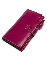 BOSTANTEN Women's Large Capacity Luxury Wax Genuine Leather Wallet with Zipper Pocket Rose Red