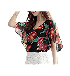 Li-Never Women Chiffon Striped Print Tops Petal Sleeve Shirts Floral Estampado Blusas Yellow Flower M at Amazon Womens Clothing store: