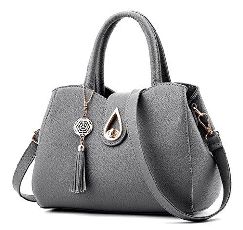Office Lady Top handle Handbag Crossbody Shoulder Bag Fashion Luxury Tote Handbags Purse Business Satchel for Women Gray