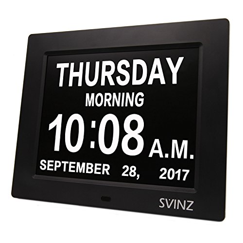 Calendar Display (SVINZ 3 Alarms Dementia Clock, 2 Auto-Dim Options, Large Display Digital Calendar Day Clock for Vision Impaired, Elderly, Memory Loss, Black, SDC008W)