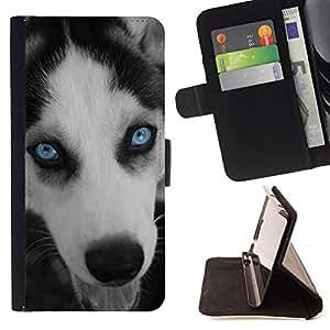 KingStore / Leather Etui en cuir / Apple Iphone 4 / 4S / Husky de ojos Azul Cara Bozal perro
