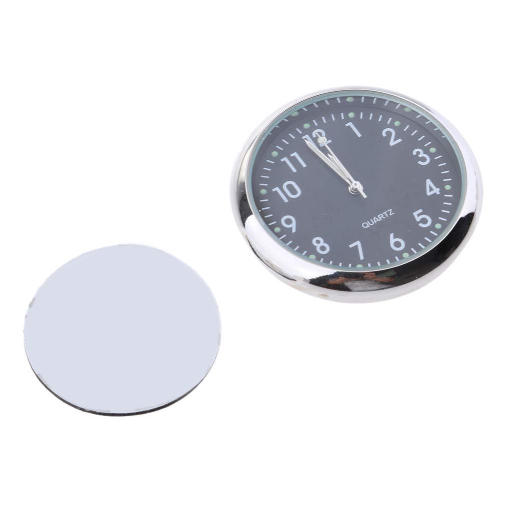 D DOLITY High Accuracy Car Dashboard Clock Classic Table Mini Quartz Clock Stick-On Clock - Fluorescent Black