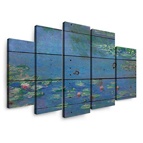 5 Panels Canvas Print Wall Art - European Impressionist Works Claude Monet-Water Lilies - Wall Decor Pictures for Living Room Modern Artwork Stretched and Framed Ready to Hang