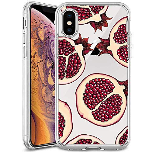 iPhone Xs iPhone X Case,Slim Fit Shell Soft Thin Mobile Phone Clear Case with Non Slip Matte Surface Protective Clear case for iPhone Xs iPhone X-Red Pomegranate
