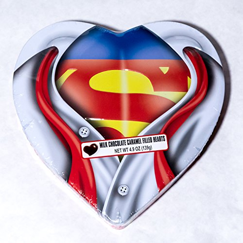 ... Superman Heart Tin With Caramel Filled Hearts