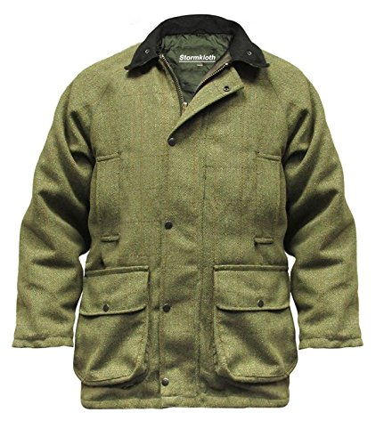 Stormkloth Men's Hereford Tweed Jacket Coat Hunting Shooting Fishing Tweed Jackets Light Sage (Lined Tweed Coat)