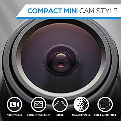 Universal Mount Front Rear Camera - Marine Grade Waterproof Built-in Distance Scale Lines Backup Parking/Reverse Assist Cam w/ Night Vision LED Lights 420 TVL Resolution & RCA Output - Pyle PLCM38FRV,Black: Car Electronics