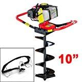 GHP Lightweight 10'' Auger 2 Stroke Gas Post Hole Digger w Safety Glasses