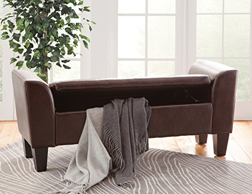 Grafton 1495-47-L Chloe Storage Bench, Medium, Brown (With Leather Bench Storage Arms)
